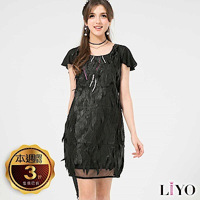 LIYO理優歐風V領立體蕾絲洋裝(白,黑)