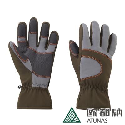 【ATUNAS 歐都納】中性款防風保暖手套A-A1828墨綠/淺灰/騎士/旅遊配件