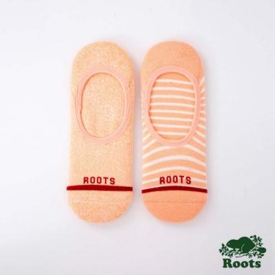 Roots配件- 條紋隱形襪 (女)-橘色