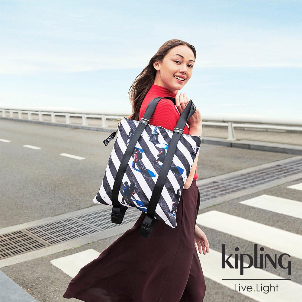 Kipling 時尚斑馬印花大容量手提帆布包-LOVILIA