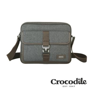 Crocodile 鱷魚皮件 Neat 2.0系列 布配皮 橫式斜背包 側背包(S)0104-08301-07