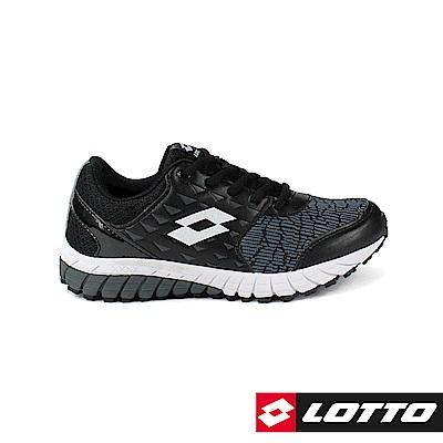 LOTTO 義大利 童 雙色動力 雙密度避震跑鞋(黑)