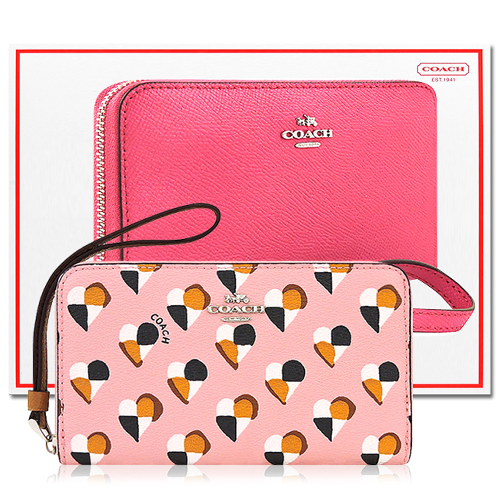 COACH 粉紅色愛心PVC拉鍊六卡中夾+COACH 桃紅色防刮皮革拉鍊六卡中夾COACH
