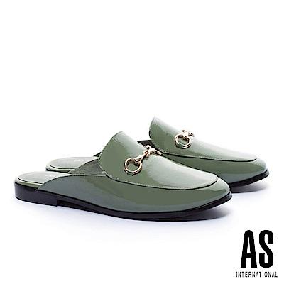 拖鞋 AS 經典潮流金屬馬銜釦漆皮穆勒低跟拖鞋-綠