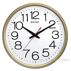 RHYTHM日本麗聲 經典簡約大字體靜音掛鐘(星采金)/36cm