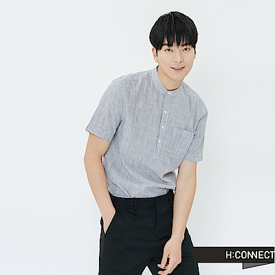 H:CONNECT 韓國品牌 男裝-休閒條紋短袖襯衫-藍