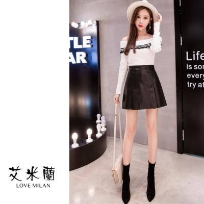 艾米蘭-雙排扣造型修身短裙-黑S