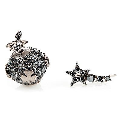 DIRO「DIOR TRIBALES」鍍鈀復古星星圓珠水鑽鑲LOGO金屬穿式耳環