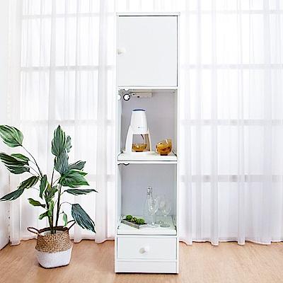 Birdie南亞塑鋼-1.5尺一門一抽二拉盤塑鋼電器櫃(白色)44x41x180cm