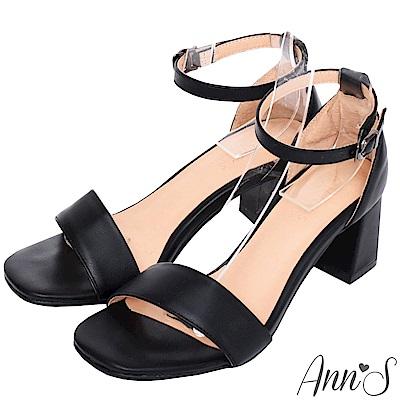 Ann'S不踩雷美腿製造機一字帶涼鞋-寬帶6公分中跟-黑