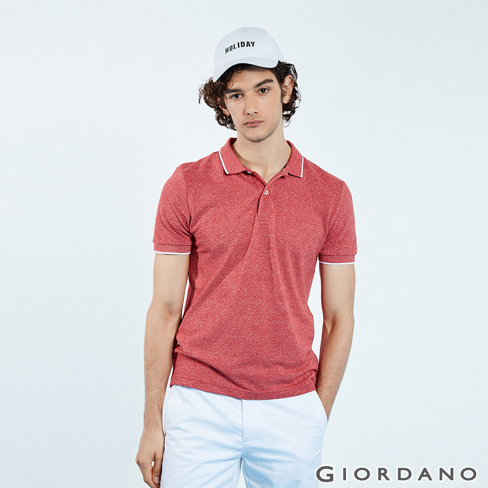 GIORDANO 男裝經典素色短袖POLO衫-46 雪花標誌紅