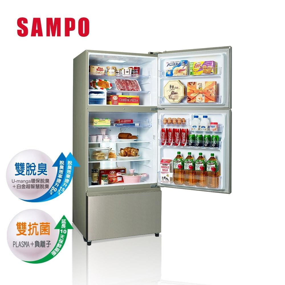 SAMPO 聲寶 580公升一級能效全平面鋼板系列變頻三門冰箱 SR-B58DV(Y6) 香檳銀
