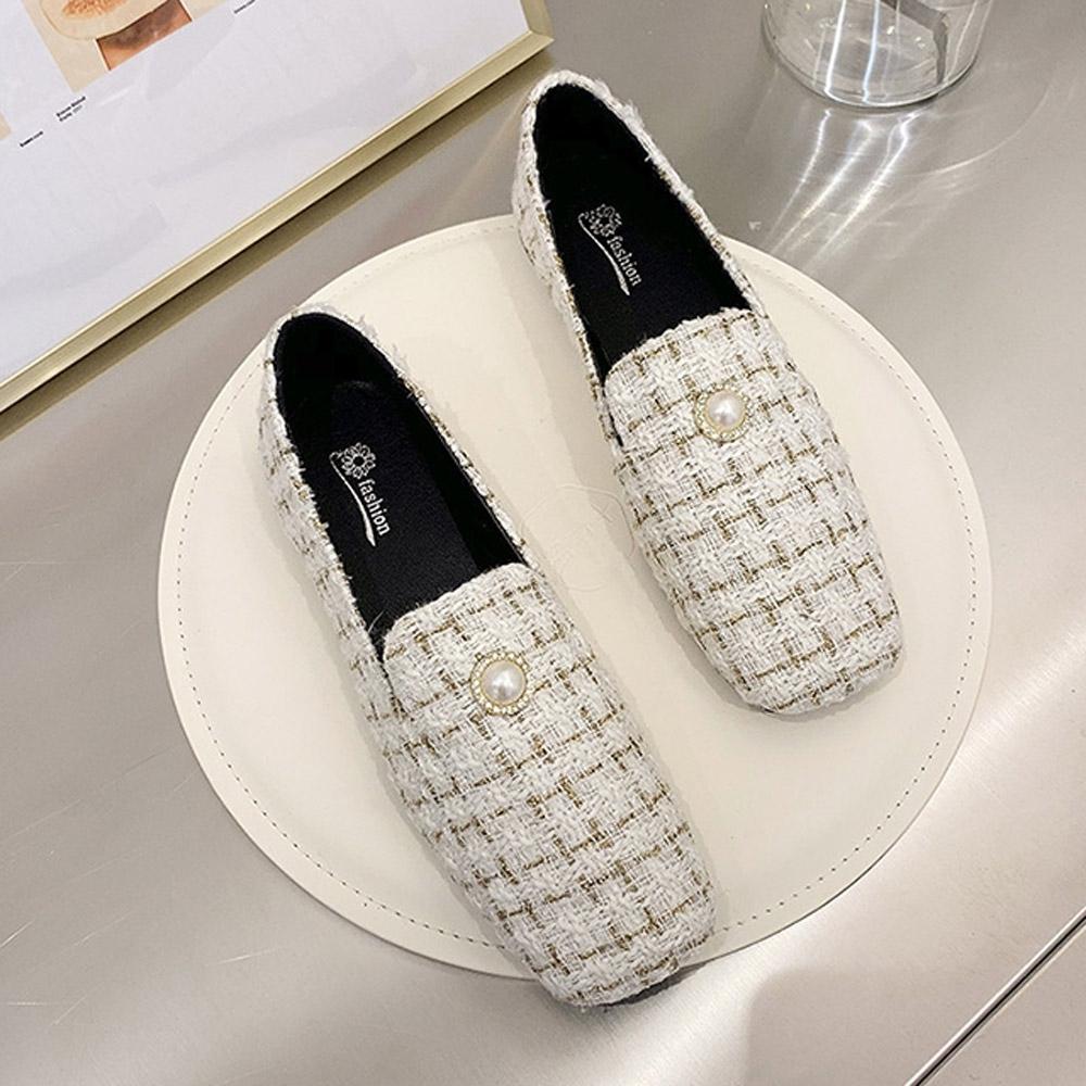 韓國KW美鞋館-(現貨)法式淑女珍珠氣質樂福鞋(共1色) (白色)