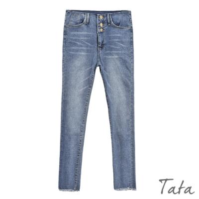 前三排扣褲管抽鬚牛仔褲 TATA-(S~L)