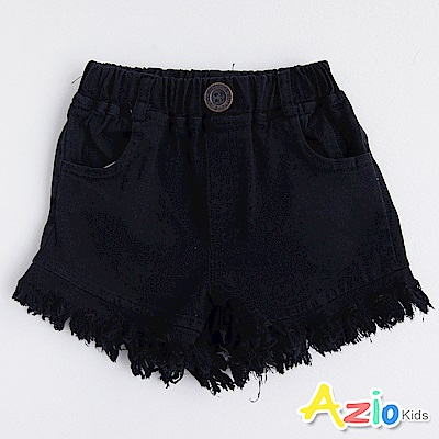 Azio Kids 短褲 雙口袋抽鬚彈性鬆緊短褲(黑)