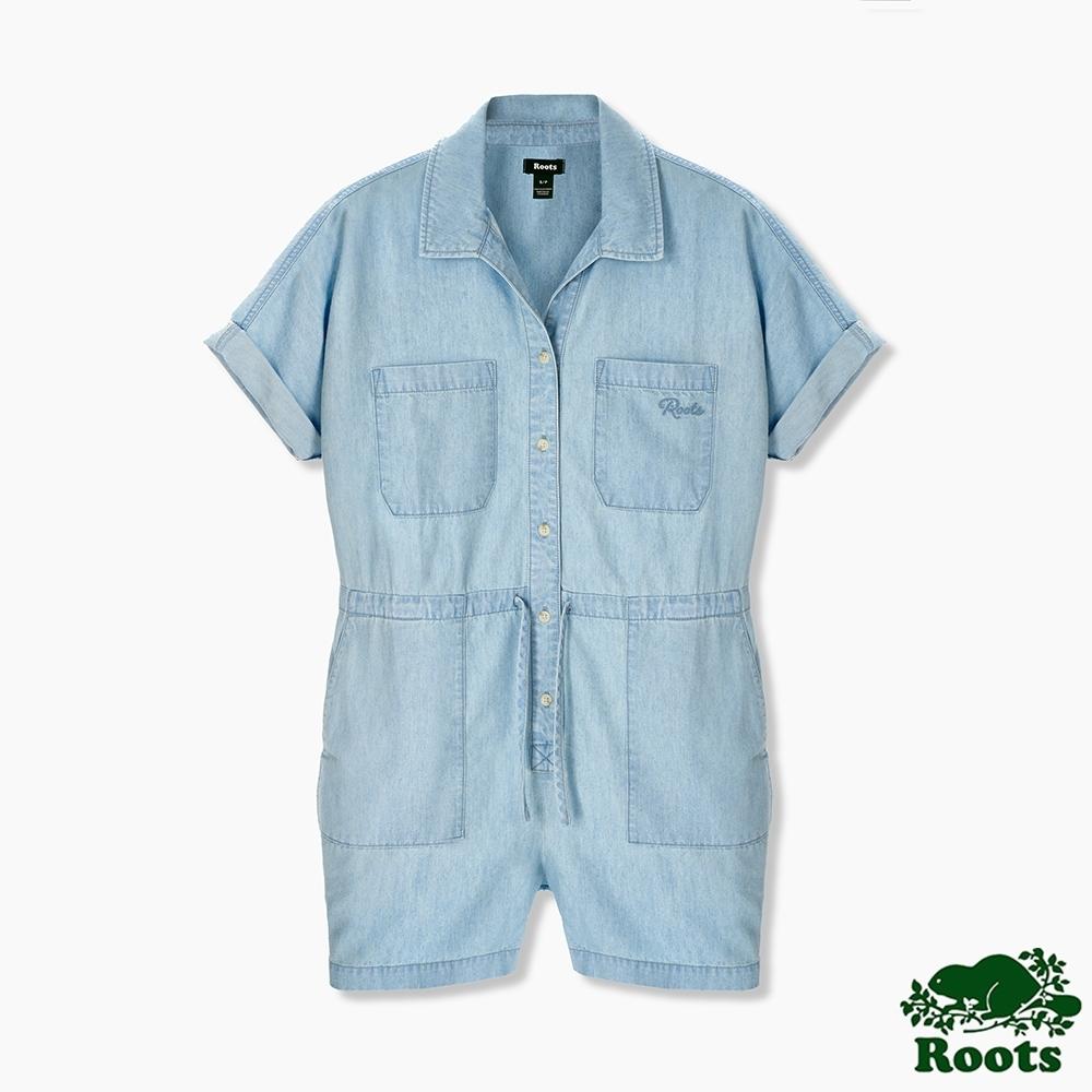 Roots 女裝- 湖畔小木屋系列 丹寧連身短褲-淺藍色
