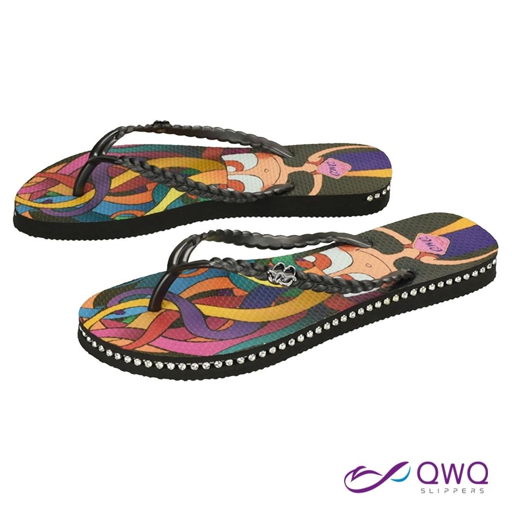 QWQ 女款插圖人字夾腳拖鞋-鞋帶保固-水鑽拖鞋-休閒拖鞋-彩魔女-黑(ADIM01105)