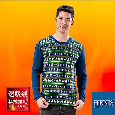 HENIS 禦寒神器 速暖羽式絨毛發熱衣 (藍底綠線麋鹿印花)