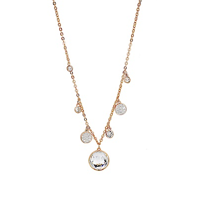 SWAROVSKI 施華洛世奇 LUCY ROUND圓形環繞水晶玫瑰金項鍊