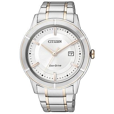 CITIZEN星辰  紳士英爵光動能男士手錶(AW1084-51A)-白色/40mm