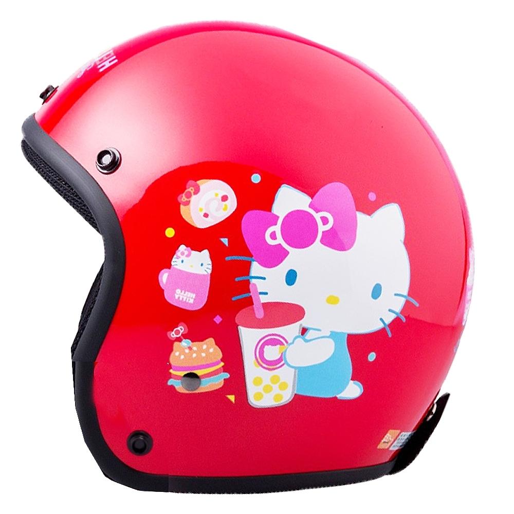 HELLO KITTY 45週年 正版授權 4/3罩安全帽 亮紅款  (女生SIZE)