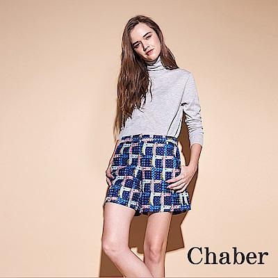 Chaber巧帛 時尚立體紋印花鉛筆造型百搭短褲-藍