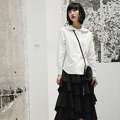 日式美學娃娃領白色長袖襯衫/設計所在SC-6018