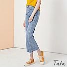 側縫邊抽鬚牛仔寬褲 共二色 TATA