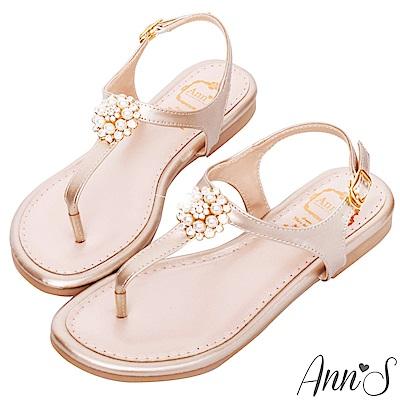 Ann'S優雅小步舞-珍珠圓鑽T字平底涼鞋