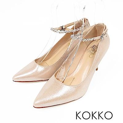 KOKKO - 浪漫時光兩穿踝帶尖頭高跟鞋-幸福粉
