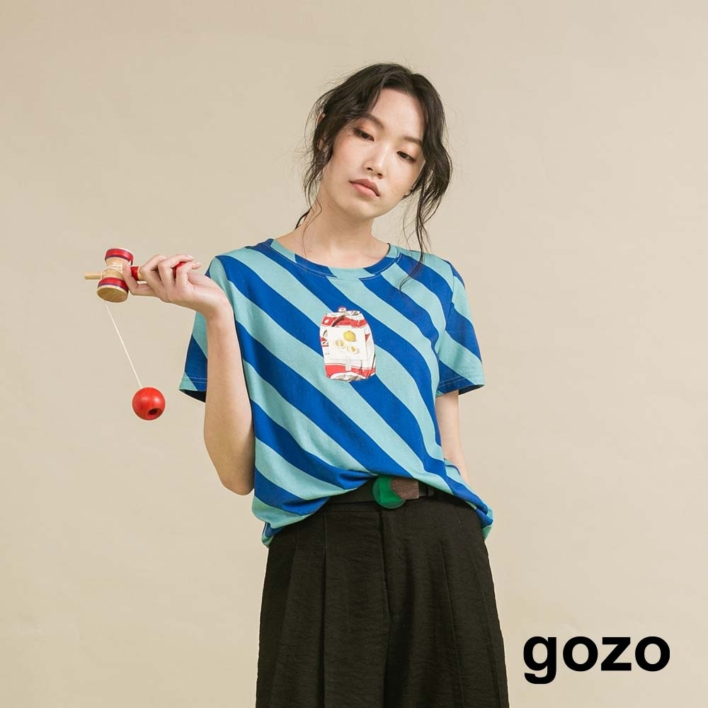 gozo 斜條紋造型印花T恤(二色) product image 1