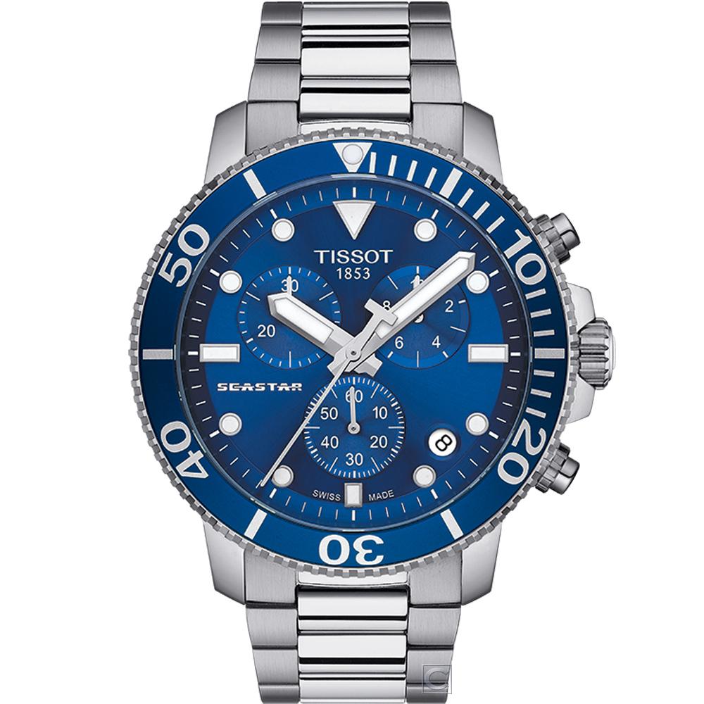 TISSOT SEASTAR 海星計時潛水錶(T1204171104100)45.5mm