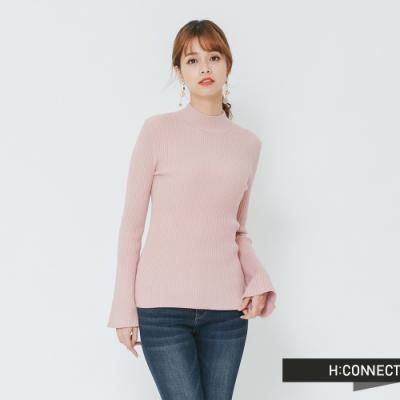 H:CONNECT 韓國品牌 女裝 - 小寬袖立領坑條上衣-粉(快)