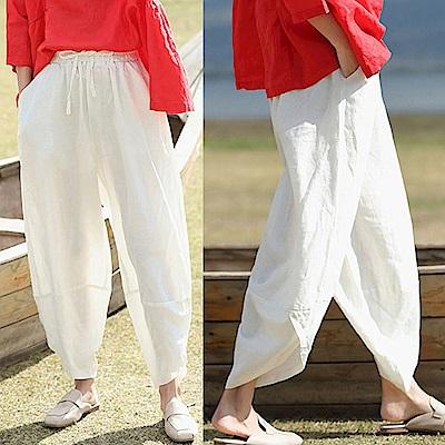 休閒褲-高品質亞麻燈籠褲寬管-K8634-設計所在