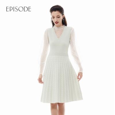EPISODE - 薄荷綠V領無袖條紋設計A字針織洋裝
