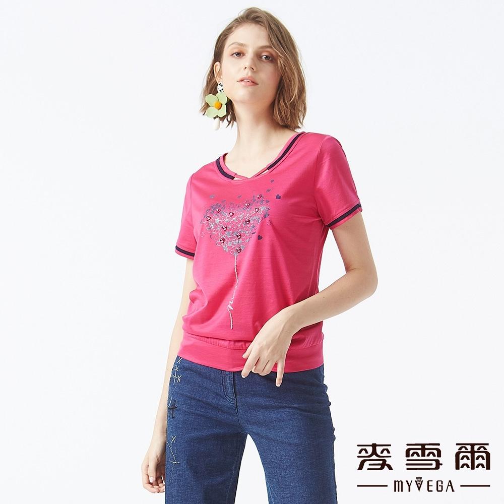 MYVEGA麥雪爾 絲光棉愛心滿鑽造型上衣-桃紅