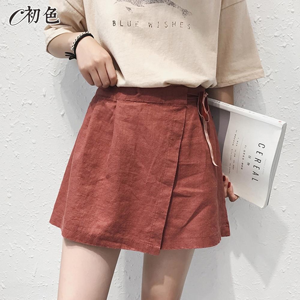初色  高腰綁帶短褲裙-共2色-(L-2XL可選)