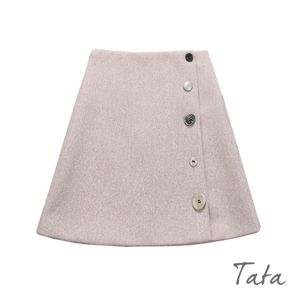 毛呢造型扣後拉鍊短裙 共二色 TATA