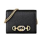 GUCCI Zumi系列金屬LOGO牛皮6卡手提扣式卡片零錢包(黑)