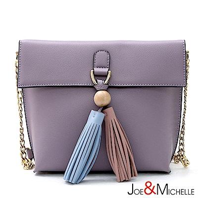 J&M 真皮艾蜜莉鍊帶流蘇斜背包 芋藕紫(快)