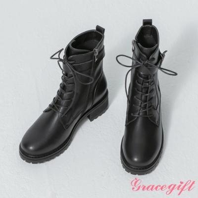 Grace gift-韓系綁帶方釦軍靴 黑