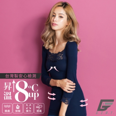 GIAT台灣製150D蕾絲美型機能保暖衣(袖接蕾絲-午夜藍)
