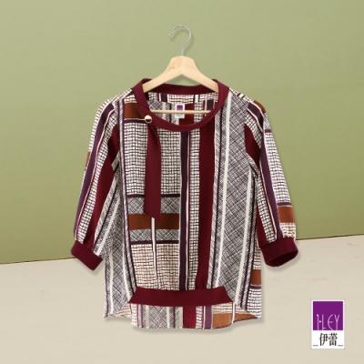 ILEY伊蕾 時尚手繪風幾何圖紋印花七分袖上衣(紅)