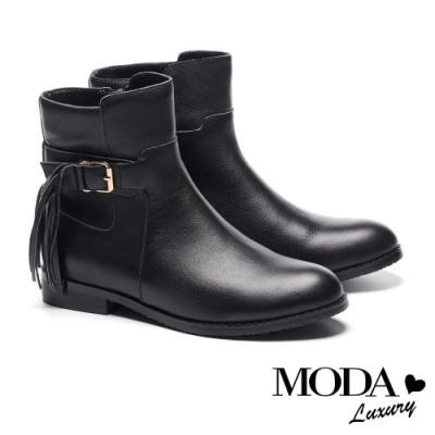 短靴 MODA Luxury 垂墜美感流蘇方釦真皮低跟短靴-黑