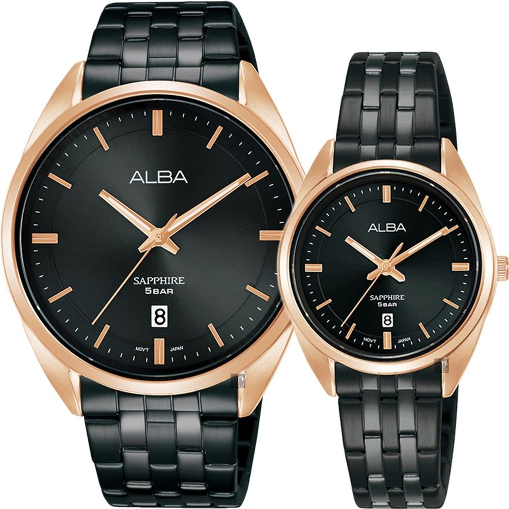 ALBA 雅柏 簡約設計情侶手錶 對錶  VJ42-X303SD+VJ22-X323SD(AS9L04X1+AH7V42X1)