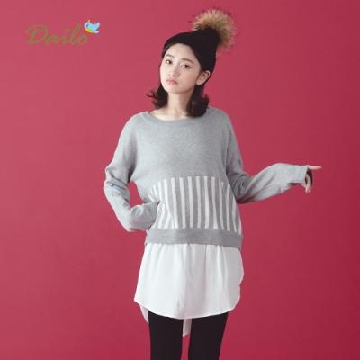 新降【Dailo】拼接襯衫假兩件式-針織衫(白色)