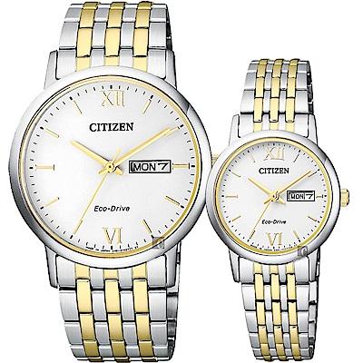 CITIZEN 星辰 光動能新時代對錶-白x雙色版/37+27mm