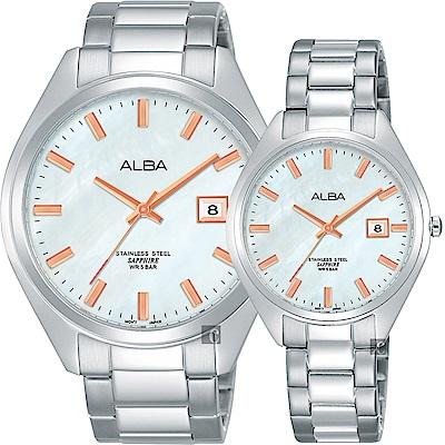 ALBA雅柏 城市情人時尚對錶-珍珠貝x銀/42+32mm