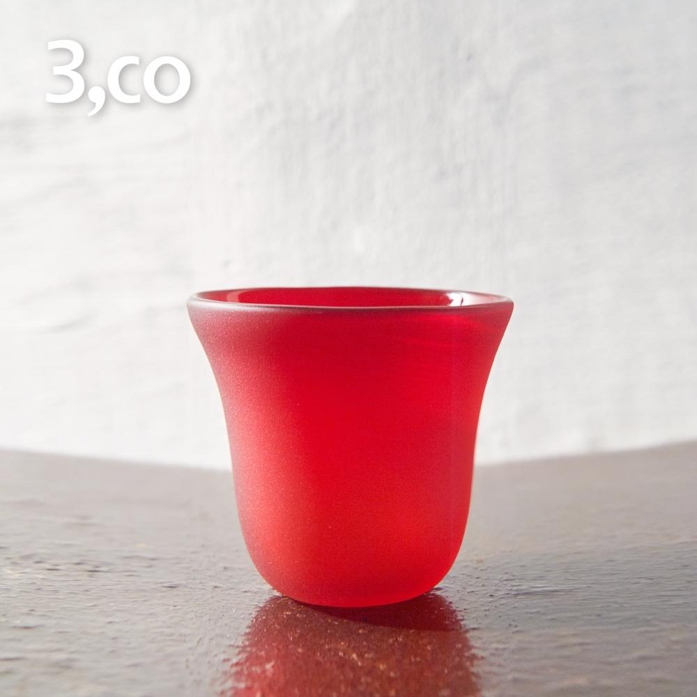 3,co 手工彩色玻璃杯 200ml(小) - 紅