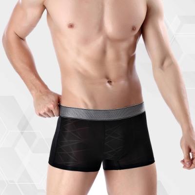 男內褲 涼感冰絲超輕薄織紋男內褲 經典黑 L-3XL ThreeShape